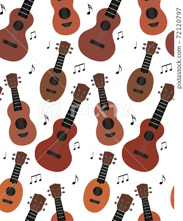 Seamless pattern with flat ukuleles with musical notes on white background. Hawaiian music. Musical string instrument. Seamless cartoon texture 72120797