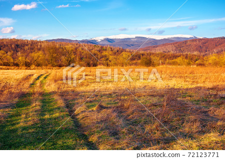 sunny evening in mountainous countryside. beautiful rural landscape in springtime. country road through the field. snow capped ridge in the distance. wonderful weather with clouds on the blue sky 72123771