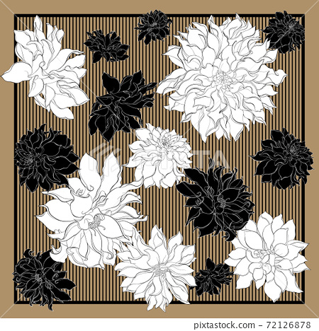 Silk scarf with dahlia flowers. Blooming flowers on a gold background with black stripes. Greeting card, bandana print, scarf design, napkin, wedding invitation, birthday, fabric, healthy food 72126878