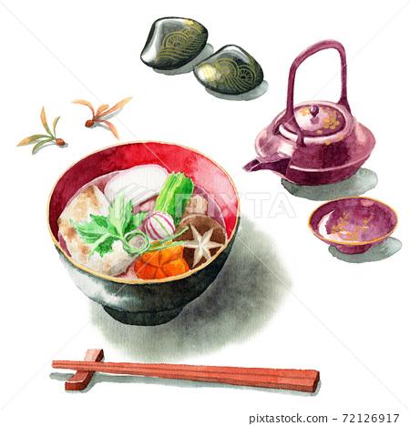 模擬水彩關東風格的雜煮和屠宰 72126917