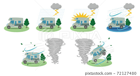 矢量圖的遭受閃電和龍捲風的露營者 72127480