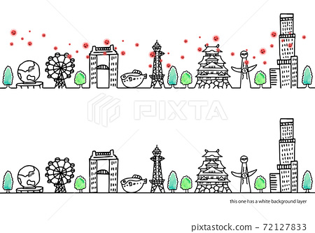 Simple illustration of the new coronavirus and the cityscape of Osaka 72127833