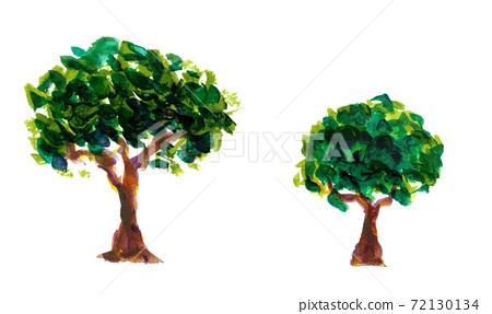 그림 물감으로 묘사 된 나무 일러스트 72130134