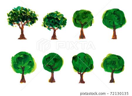 그림 물감으로 묘사 된 나무 일러스트 세트 72130135