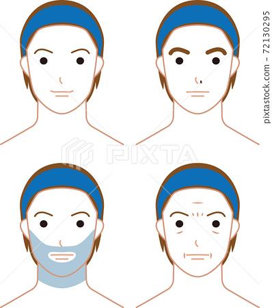 男性面部有鬍鬚,皺紋,鼻毛和濃密的眉毛 72130295