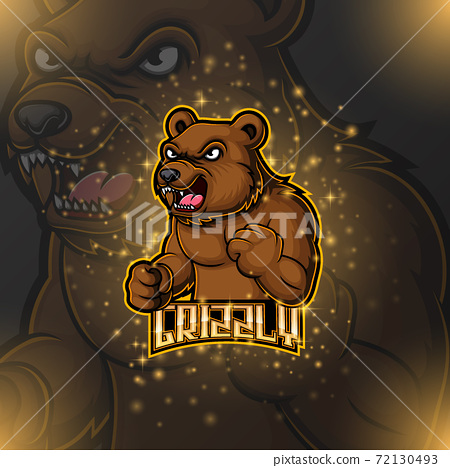 Bear mascot e sport logo design 72130493