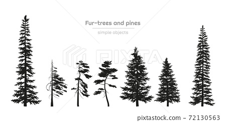 Black silhouettes of fur-trees and pines. Forest landscape. Isolated drawing of simple objects 72130563