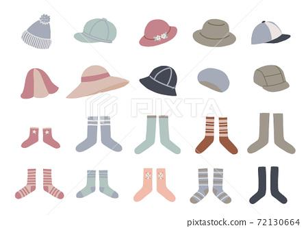 各種帽子和襪子的插圖 72130664