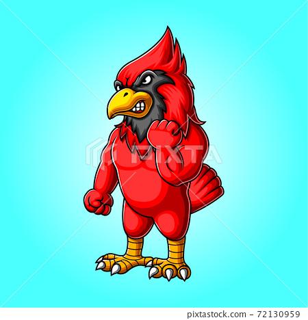 Angry cardinal bird mascot logo design 72130959