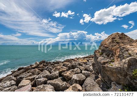 Boulders Breakwater and Mediterranean Sea - Gulf of La Spezia Liguria Italy 72131477