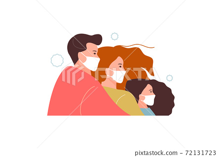 Family in protective masks prevention vector 72131723