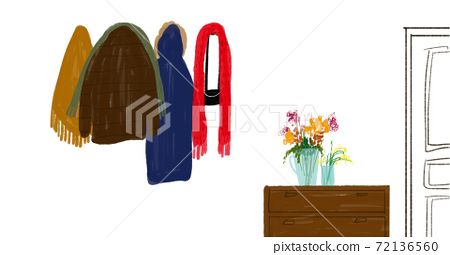 Illustration of the entrance decorated with flowers overflowing with winter clothes such as coats and mufflers 72136560