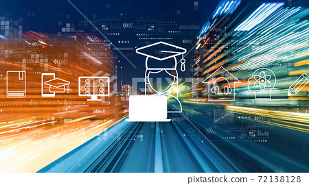 Distance learning theme with high speed motion blur 72138128