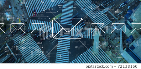 Email concept with city traffic intersection 72138160