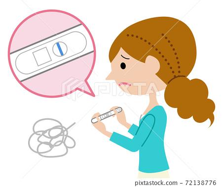 失望地發現自己沒有懷孕測試的女人 72138776