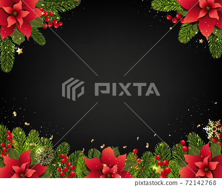 Christmas Postcard And Fir Tree Branches Borders 72142768