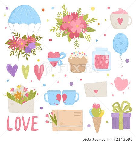 Set of cute, pretty design elements for girls with flowers, birds and hearts in pink, red and mint green. Isolated on white, good for stickers, decals, Valentines Day, Christmas, birthday. 72143096