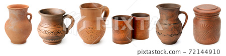 Set ceramic jugs, pots and cups isolated on white 72144910
