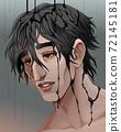 Representation of sadness, a man in the black rain 72145181
