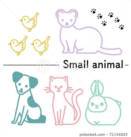 一隻小鳥,雪貂,狗,貓和兔子的簡單圖解 72148885