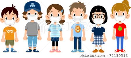 6名兒童戴著面具的短袖的插圖 72150518