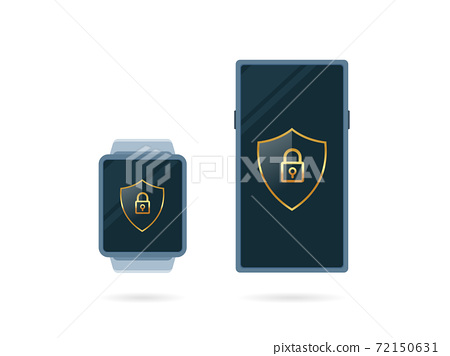 A digital smart watch and smart phone. Isolated Vector Illustration 72150631