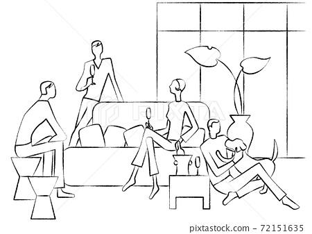 家庭聚會手繪單色線條畫 72151635