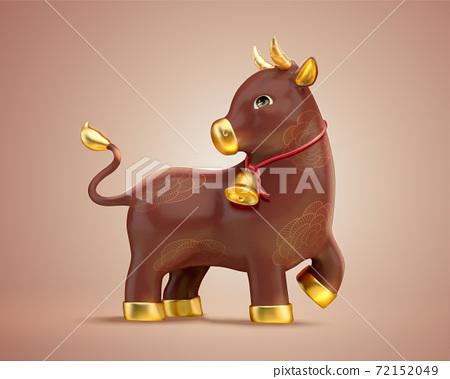 Lovely ceramic brown ox 72152049