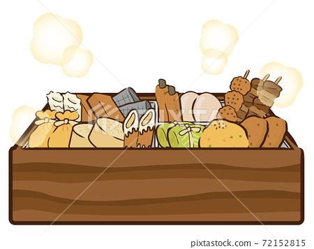 Steamed oden (rice cake purse, radish, chikuwa, chikuwabu, fried tofu, konjac, burdock heaven, egg) in an oden pot 72152815