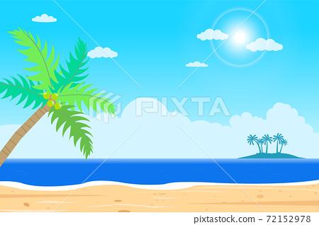 Tropical Beach island vector .Islands shore with palm tree.Beautiful seascape  with sunshine.Summer season holiday.Beautiful paradise island with beach and sea 72152978