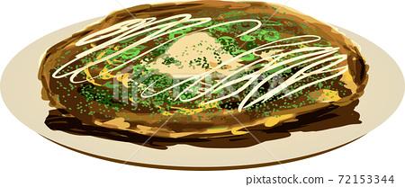 Handwritten okonomiyaki illustration 72153344