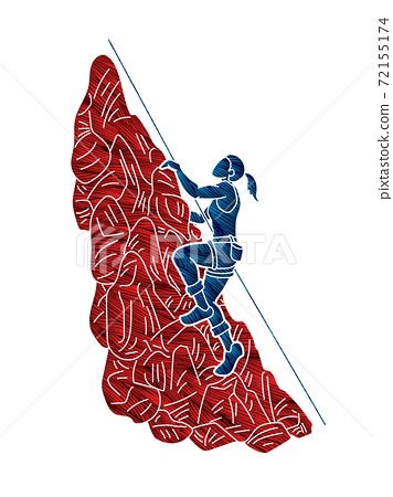 Hiker climbing mountain hiking cartoon graphic vector 72155174