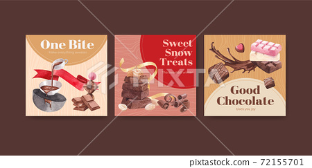 Advertise template with chocolate winter concept design for marketing and ads watercolor vector illustration 72155701
