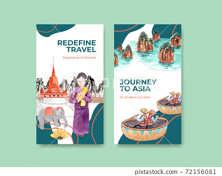 Instagram template with Asia travel concept design for social media and online marketing watercolor vector illustration 72156081