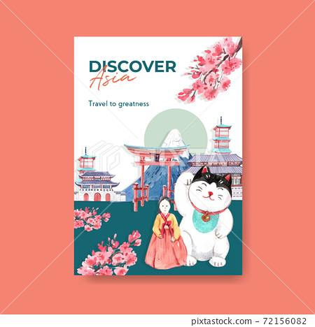Poster template with Asia travel concept design for brochure and marketing watercolor vector illustration 72156082