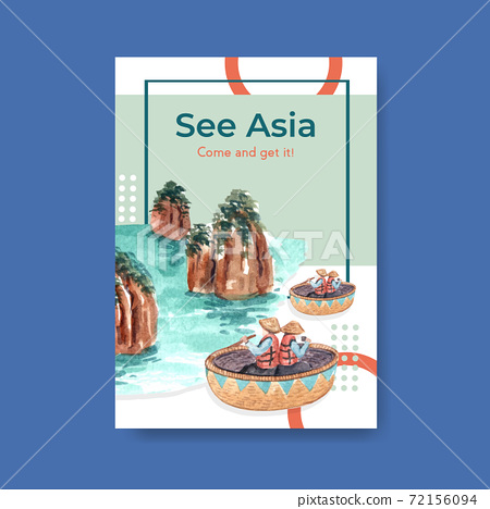 Poster template with Asia travel concept design for brochure and marketing watercolor vector illustration 72156094
