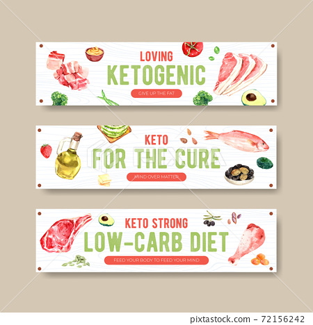 Banner template with ketogenic diet concept for advertise and marketing watercolor vector illustration. 72156242