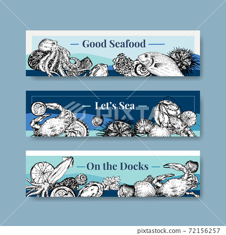Banner template with seafood concept design for advertise and brochure vector illustration 72156257