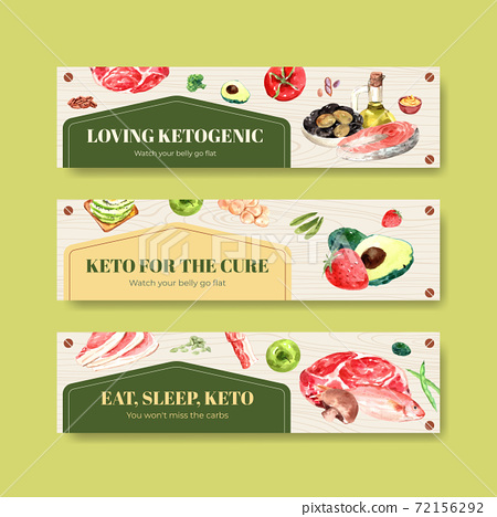 Banner template with ketogenic diet concept for advertise and marketing watercolor vector illustration. 72156292