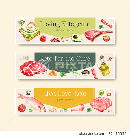 Banner template with ketogenic diet concept for advertise and marketing watercolor vector illustration. 72156332