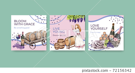 Advertise template with wine farm concept design for marketing watercolor vector illustration. 72156342