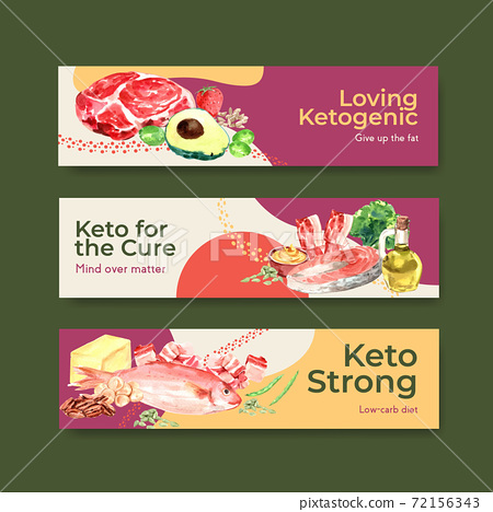 Banner template with ketogenic diet concept for advertise and marketing watercolor vector illustration. 72156343