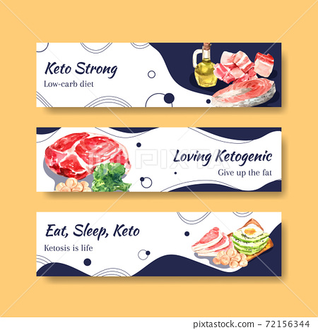 Banner template with ketogenic diet concept for advertise and marketing watercolor vector illustration. 72156344