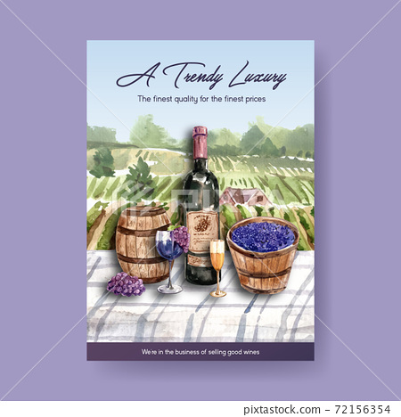 Poster template with wine farm concept design for advertise and marketing watercolor vector illustration. 72156354
