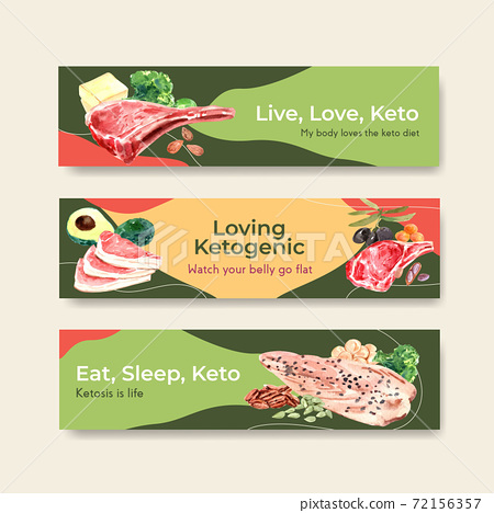 Banner template with ketogenic diet concept for advertise and marketing watercolor vector illustration. 72156357