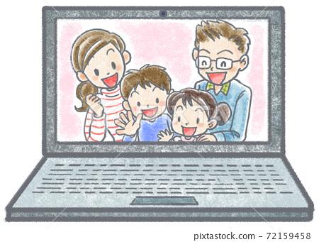 一家四口在筆記本電腦的屏幕上微笑 72159458