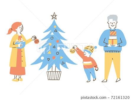 聖誕樹和家庭 72161320