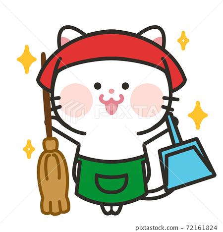 清潔貓白貓 72161824