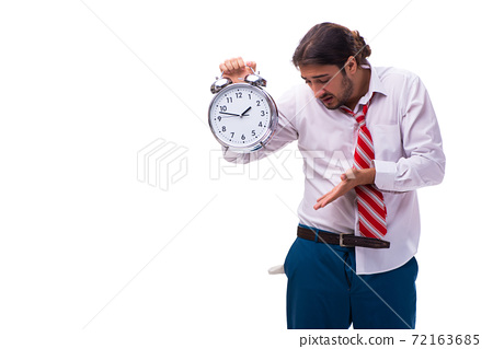 Unhappy young male employee in time management concept 72163685