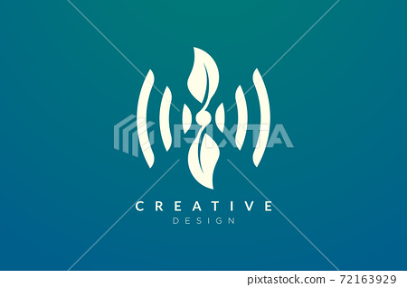 Design ideas for sound waves and leaves are combined. Modern minimalist and elegant vector illustration. Can be used for patterns, labels, brands, icons or logos 72163929